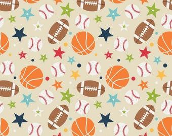 Playball main in Tan by Riley Blake Designs - 1 yard