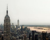 New York City Skyline, Gray, Gold, Peach, New York Print, Urban Office Decor, NYC Art, Manhattan Skyline
