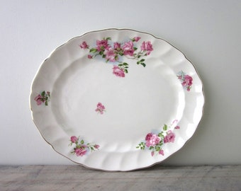 Vitage China Oval Platter with Pink Roses Old Chelsea Pattern Johnson Bros England
