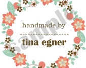 shabby handmade with love small fabric label