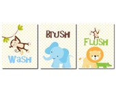 Jungle Bathroom Wall Art, Kids Bathroom Art, Monkey Alligator Elephant Lion Wash Brush Flush Children's Bathroom Decor Boys Girls, Set of 3