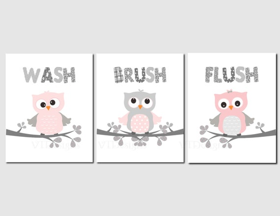 Items similar to girls bathroom art decor pink gray owl for Pink and grey bathroom accessories
