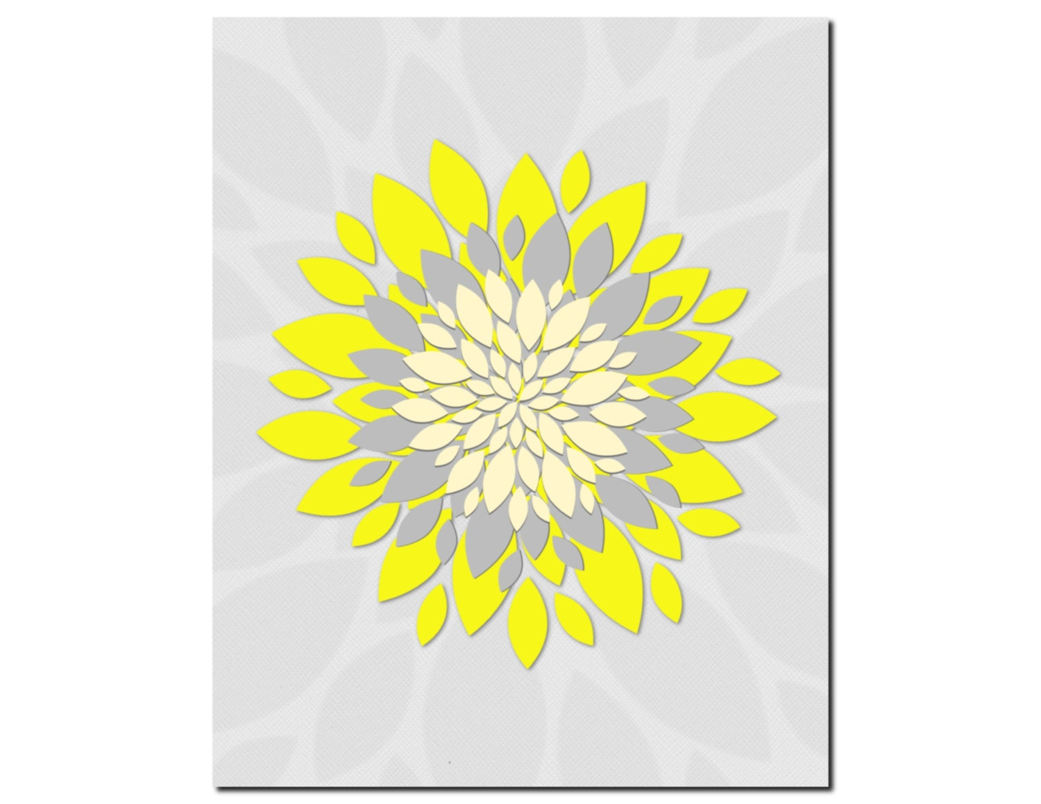 yellow gray wall art home decor flower burst floral by vtdesigns. Black Bedroom Furniture Sets. Home Design Ideas
