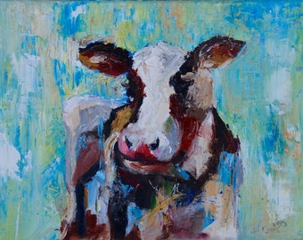 Palette Knife Abstract Modern Impressionist Cow by Rebecca Croft