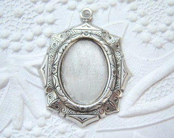2 - 18x13 antiqued silver plated brass etched closed back setting - BZ134