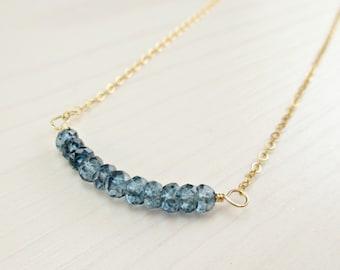 SALE! London Blue Topaz Necklace 14k Gold Filled Blue Topaz Necklace Simple Bar, December Birthstone