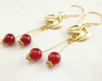 Gold Cherry Earrings, Vermeil Leaf Earrings, Red Agate, Red Cherry Dangle Earrings Fruit Jewelry Gold Leaf Earrings Red Gemstone Gold Dangle