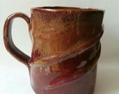 Hand Built Stoneware mug, red brown glaze, coffee mug, tea mug, cup  MADE TO ORDER
