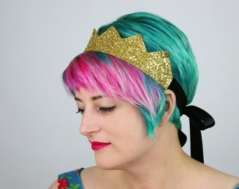 Glitter Kingly Crown Headband, Various Colours