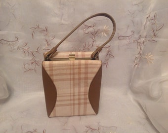 Vintage Old Fashion Brown Beige Vinyl Fabric Box Pocketbook Handbag Classic Fashion Purse