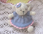 Lovely crochet cat kitty doll with knitted dress