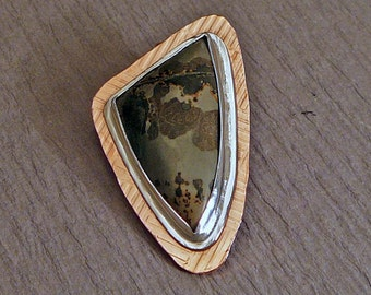 Sterling silver, copper and jasper pendant - Handmade - Textured - Mixed metal,