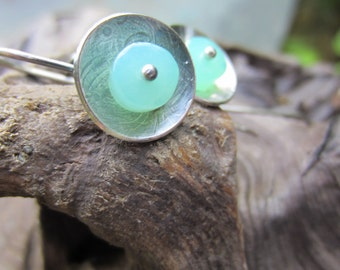 Chrysoprase and Silver Silver Dangle Earrings