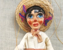 Marionette , Puppet , Mexican Puppet , Doll , Souvenir , Ranchera , Toys , Mexico , Female Doll , Puppet Show ,Sombrero ,String Toy ,Female
