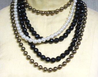 Multiple-Strand Necklace , Vintage Jewelry , Necklaces , Pearls , Faceted Beads , Black and White , Plastic Beads , Costume Jewelry , Bronze
