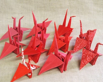 Origami Swans , Birds , Folded Paper , Red Birds , Japanese , Paper Art , Art , Art Supplies , Wedding Supplies , Party Decor , Craft Supply