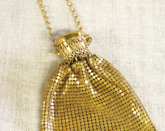 Mesh Evening Bag , Gold , Antique , Whiting and Davis , Gate Top , Accordion , Mesh Purse , Purse , Small Bag , Mesh Bag , Evening Wear