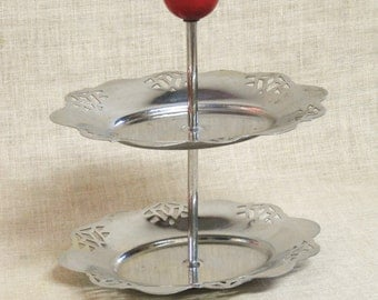 Tiered Tray , Pastry Tray , Display , Stand , Vanity Dish , Ring Dish , Metal , Mid-Century , Food Display , Silver Tone , Display Stand