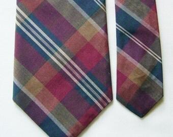 Vintage Vaughn Plaid Silk Necktie