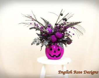Jack O Lantern Decor * Halloween Decor * Halloween Floral Arrangement * Hot Pink and Black Arrangement * Pumpkin Decor * Floral Arrangement
