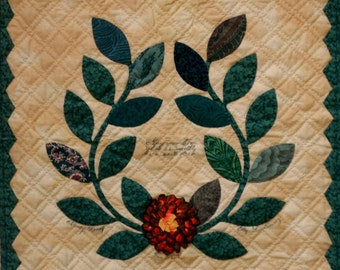 Baltimore Album Style Wall Quilt Ruched Silk Ribbon Flower and Wreath in Green, Off White, Rust and Gold