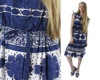 70s Sundress Sleeveless Dress Ethnic Blue White Floral Womens Fashion 1970s Medium M Hippie Dress Bohemian Midi Skirt