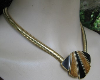 Vintage 80s Trifari Black & Swirled Butterscotch Enamel Necklace on Goldtone Serpentine Chain, 17""