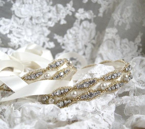 Gold Bridal Sash MINUET in Ivory or White