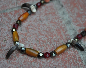 Autumn Forest Coyote Spirit - Real Coyote Claw Native American Style Necklace