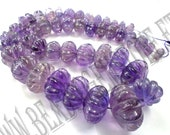 Amethyst (Light) Carved Melon (Quality A) / 11 to 25 mm / 182 to 184 Grms / 48 cm / AME-058