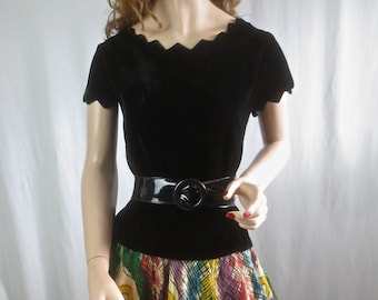 Vintage 1950's Black Rayon Velvet Bombshell Blouse with Cerated Scoop Neck and Sleeves-sz 36