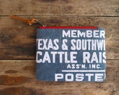 Texas Wallet Southwestern Cowboy Southern Ranch Rustic Faded Cotton Canvas Screenprint Credit Card Case Changepurse Summer Accessories