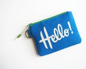 Cheerful Blue Hello Wallet Zipper Changepurse College ID Holder Keyring Women Accessories Dots Credit Card Pouch Pocket