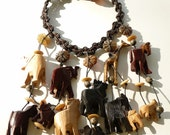 Vintage Wood Statement Necklace with Jungle Animals Tribal Style