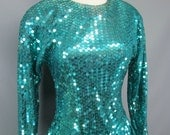 Vintage 1980s, Early 1990s Turquoise Sequin Sequence Mermaid Peplum Dress Size Small