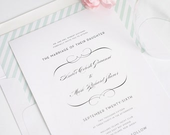 Mint Striped Wedding Invitations - Delicate Script Font - Romantic, Simple Wedding Invite - French Romance Wedding Invitation