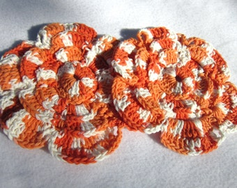 Cotton Orange Flower Dish Cloths or Wash Cloths, Two Cotton Trivets, Orange and White Table Doilies by Crocheted By Charlene