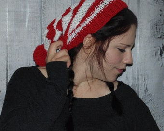 Red and White Striped Beanie Pom Pom Hat, Christmas Hat, Red white Beanie Hat
