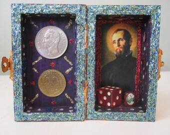 Saint Cajetan mini nicho, Catholic shrine, altar, folk art