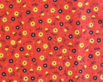 "60s/70s Red Calico with Tiny Yellow & Black Flowers - Vintage Cotton Fabric - 9 yards x 35"" wide"