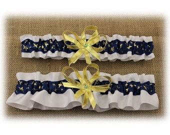 White and Blue Wedding Garter Set with Stars  (Your Choice, Single or Set)
