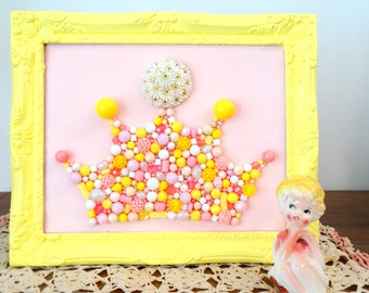 Princess Crown Wall Art - Pink Crown - Crown Picture Frame - Crown Tiara - Daisy Crown - Plastic bead mosaic - Pastel Yellow Nursery Art