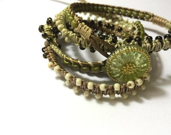 Leather Wrap Bracelet/ Beaded Macrame in Cream and Green with Bronze Leather/ Boho Wrap Bracelet
