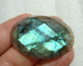 Reduced from 26.90, AAA, Flashing Firey Blue Green LABRADORITE Faceted Oval Cabochon,1 pc, 35x25x6mm - a16-2, reduced from 36.90