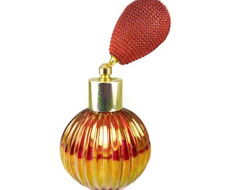 Vintage Perfume Bottle, Austria, Woven Fabric Atomizer, Cranberry Glass, Iridescent Gold, Austrian Glass, Vanity Accessories