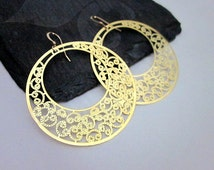 Thin Gold Hoops -- Gold Filigree Hoop Earrings -- Lace Hoops -- Go Go Earrings -- Gift Box Included