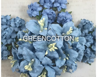 30 mixed Baby Blue mulberry paper flowers code  Bb/L170