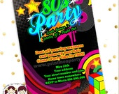 Totally 80's Bling and Neon Birthday party invitation - Glow 80s 70s Birthday - record , neon Birthday Party Printable