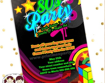 80s birthday party invitations, 80s party invites, 80s birthday party, 80s party, 80s theme party, 80s theme party invitations