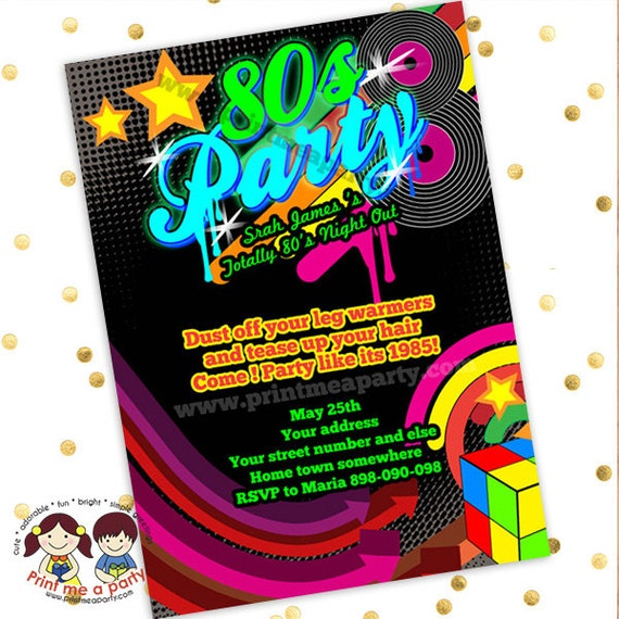 80s Theme Party Invitations Printable 80s Theme Invitations Neon